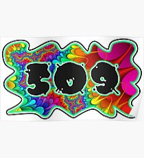 ABSTRACT, GROOVY, AND PSYCHEDELIC 509 DESIGN - VIBRANT COLORS WITH YOUR FAVORITE AREA CODE Poster
