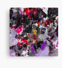 geometric square pixel pattern abstract in purple red black Canvas Print