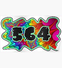 ABSTRACT, GROOVY, AND PSYCHEDELIC 564 DESIGN - VIBRANT COLORS WITH YOUR FAVORITE AREA CODE Poster