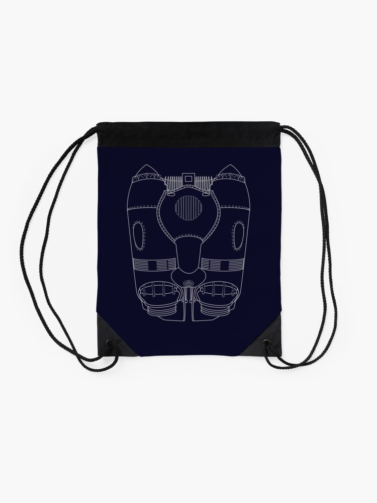 Alternate view of Rocketeer Rocket Jetpack Schematics  Drawstring Bag