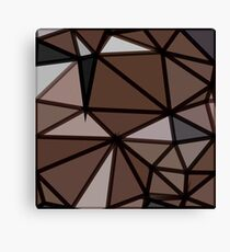 geometric triangle polygon pattern abstract in brown and black Canvas Print