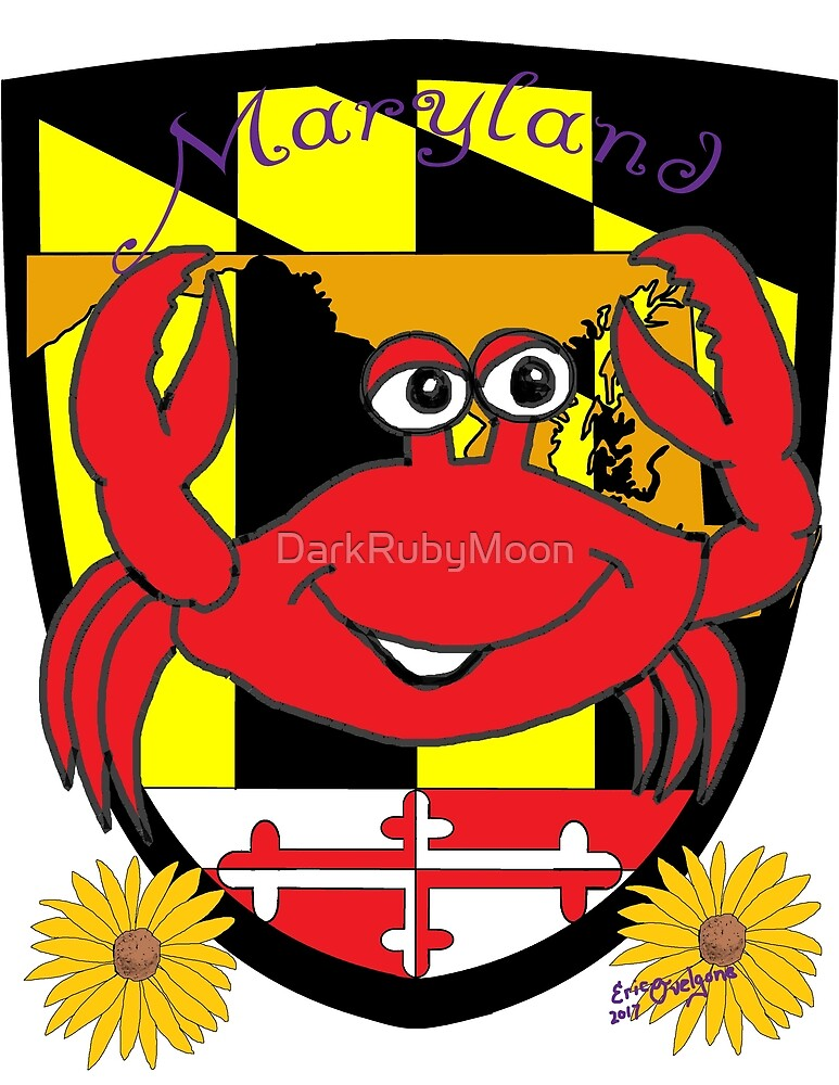 Maryland comic crab with shield and flower by DarkRubyMoon
