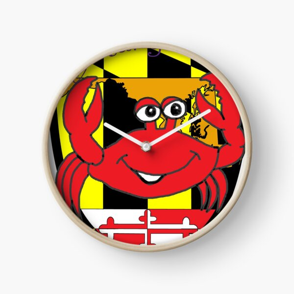 Maryland comic crab with shield and flower Clock