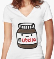 Nutella Cute Women's Fitted V-Neck T-Shirt