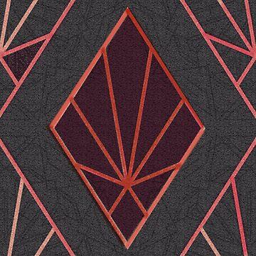 dark gray  orange red Art Deco pattern by almawad