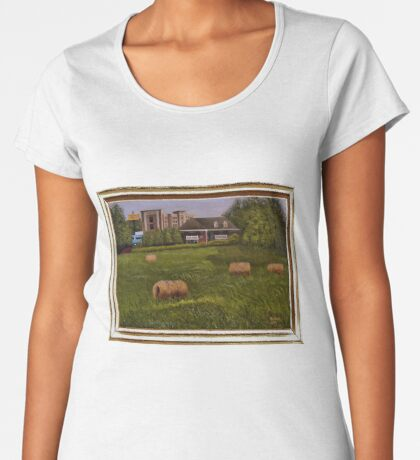 A LITTLE BIT OF COUNTRY, ACRYLIC PAINTING, DISPLAYED WITH SYNTHETIC FRAME Women's Premium T-Shirt