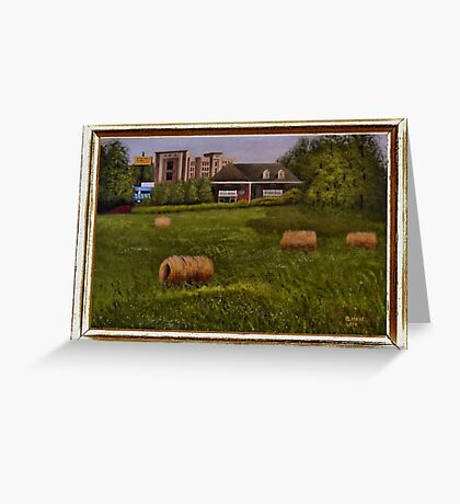 A LITTLE BIT OF COUNTRY, ACRYLIC PAINTING, DISPLAYED WITH SYNTHETIC FRAME Greeting Card