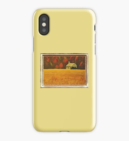 MOUNTAIN AUTUMN, ACRYLIC PAINTING, DISPLAYED WITH SYNTHETIC FRAME  iPhone Case