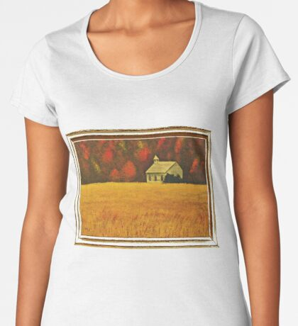MOUNTAIN AUTUMN, ACRYLIC PAINTING, DISPLAYED WITH SYNTHETIC FRAME  Women's Premium T-Shirt