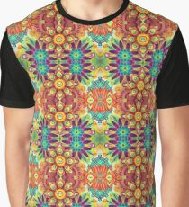 black abstraction design multi-colored floral digital seamless colorful repeat pattern Graphic T-Shirt