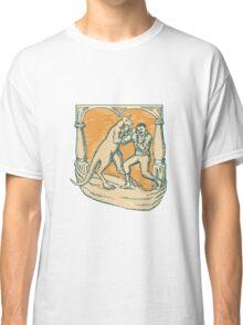 Kangaroo Boxing Man Etching Classic T-Shirt