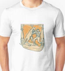 Kangaroo Boxing Man Etching T-Shirt