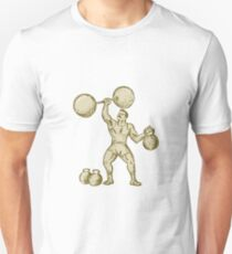 Strongman Lifting Barbell Kettlebell Etching T-Shirt