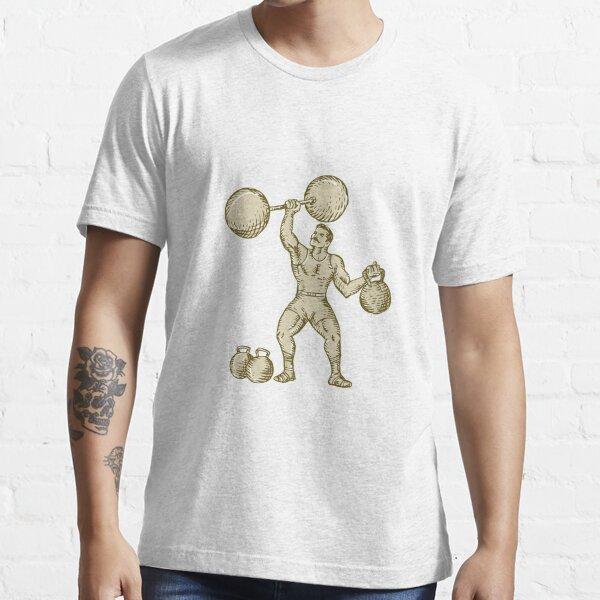 Strongman Lifting Barbell Kettlebell Etching Essential T-Shirt