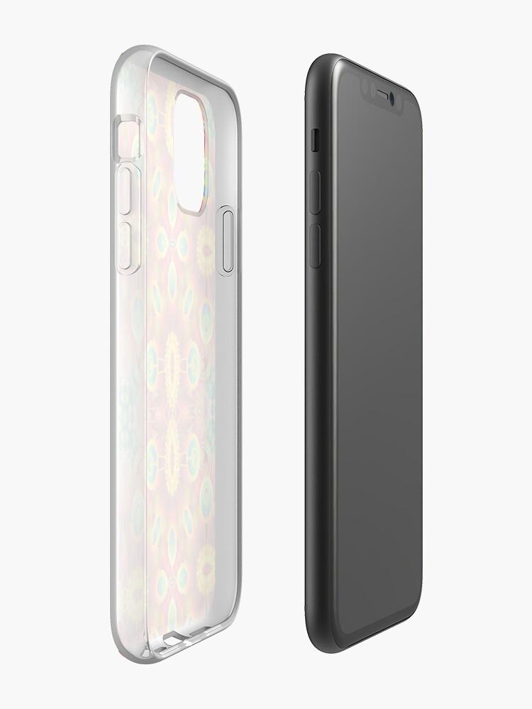 Coque iPhone «design bleu clair coloré multicolore numérique violet transparente motif de répétition», par Abrahamjrnd