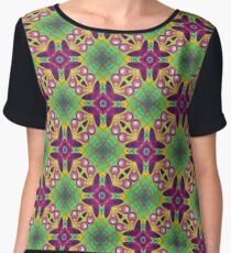 abstraction colors psychedelic digital flora bumper garden seamless colorful repeat pattern Chiffon Top