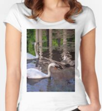 Swans, Evening swim. Women's Fitted Scoop T-Shirt