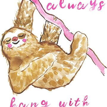 Cute Funny Watercolor Sloth by jmac111
