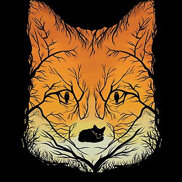 Red Fox Tree Art Print - Negative Space Art for the Fox Lover by GetHoppedWV
