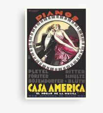 Piano, Circular Keyboard, Casa America Vintage Poster Canvas Print