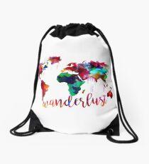 Watercolor Wanderlust World Map  Drawstring Bag