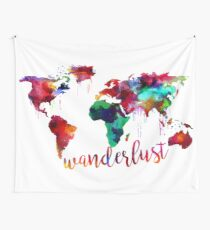 Watercolor Wanderlust World Map  Wall Tapestry
