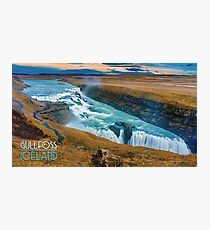 Vintage Gullfoss Iceland Travel Poster Photographic Print