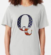 QANON BIG USA Q #Qanon #wwg1wga Slim Fit T-Shirt