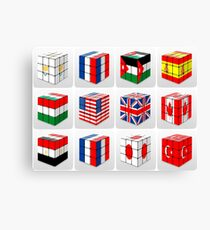 Collage of cubes of flags of different nation  Canvas Print