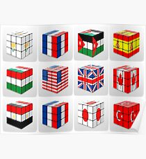 Collage of cubes of flags of different nation  Poster