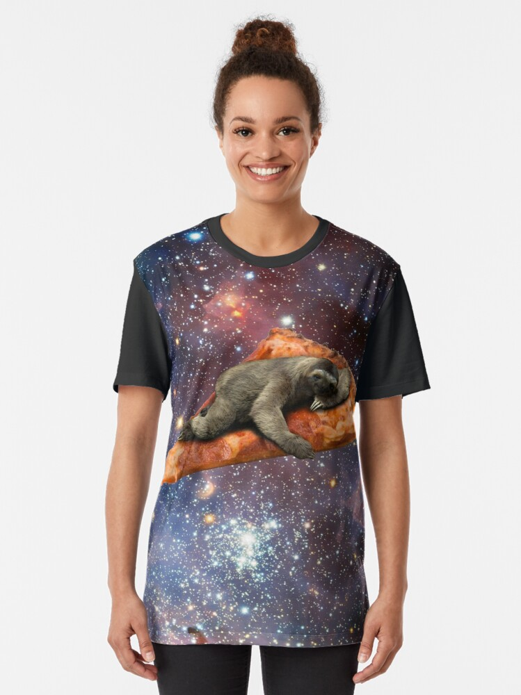 Alternate view of Pizza Sloth In Space Graphic T-Shirt