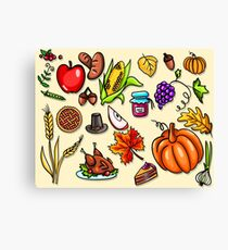Thanksgiving day. Illustration with elements of thanksgiving celebration harvest and icons. Canvas Print