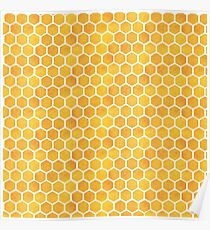 honey comb watercolor pattern Poster