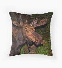 Eyes of the Night: Bull Moose Throw Pillow