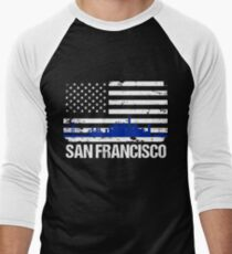 San Francisco Skyline Distressed American Flag Men's Baseball ¾ T-Shirt