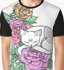 Floral Rose Cat Graphic T-Shirt