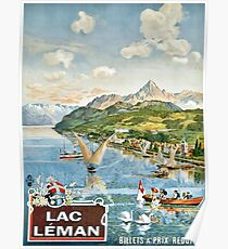 Geneva Lake, Lac Leman, sailing boats, Switzerland Poster