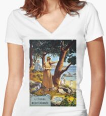 Mediterranean coast, vintage french poster Women's Fitted V-Neck T-Shirt