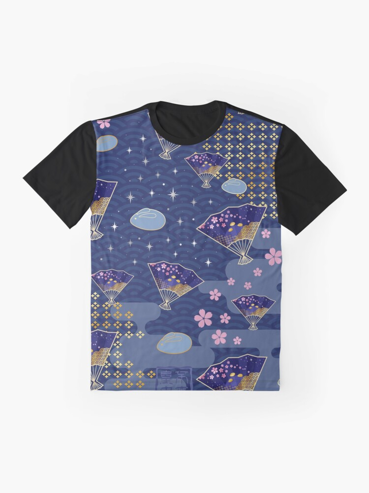 Alternate view of Asian Fans Moon Bunny - Blue Graphic T-Shirt