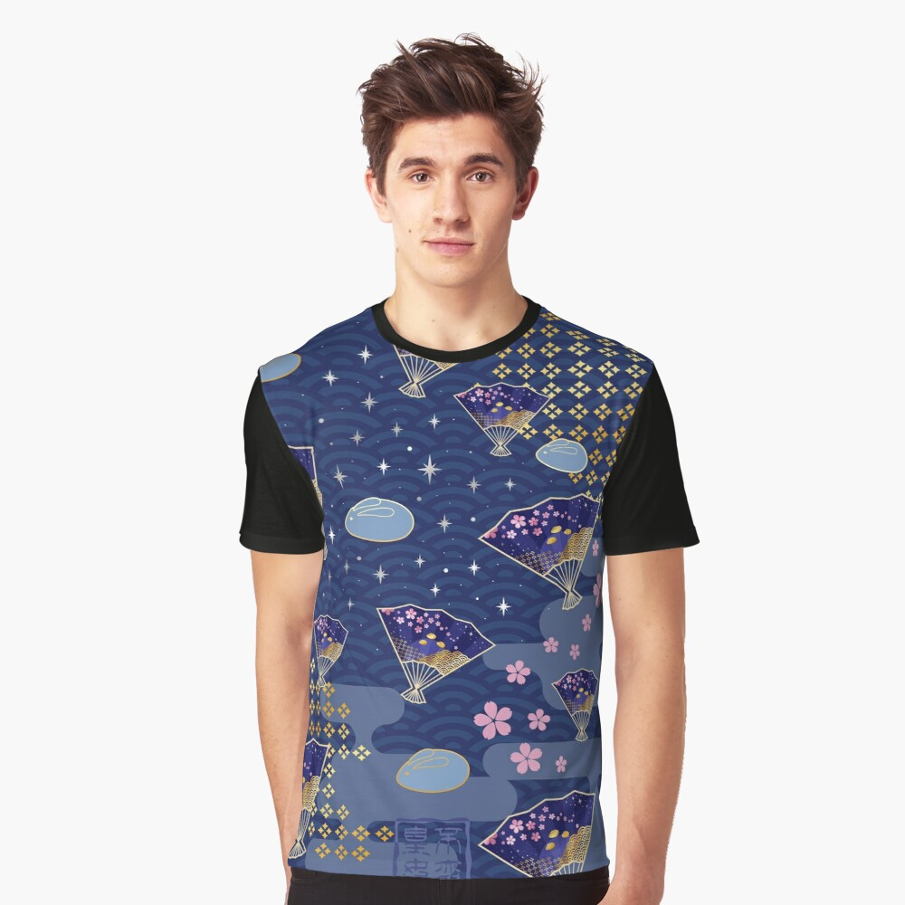 Asian Fans Moon Bunny - Blue Graphic T-Shirt