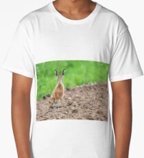 Wild hare sat staring at camera Long T-Shirt