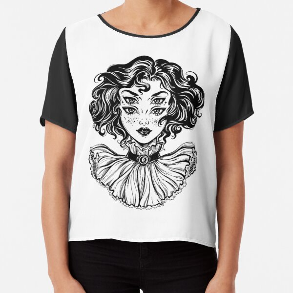Gothic witch girl head portrait with curly hair and four eyes. Chiffon Top