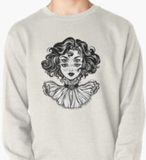 Gothic witch girl head portrait with curly hair and four eyes. Pullover