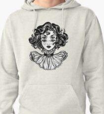 Gotisches Hexemädchen-Kopfporträt mit dem gelockten Haar und vier Augen. Hoodie