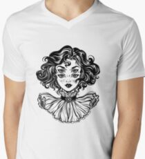 Gothic witch girl head portrait with curly hair and four eyes. V-Neck T-Shirt