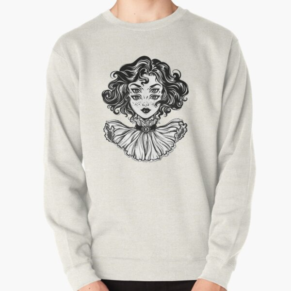 Gothic witch girl head portrait with curly hair and four eyes. Pullover Sweatshirt