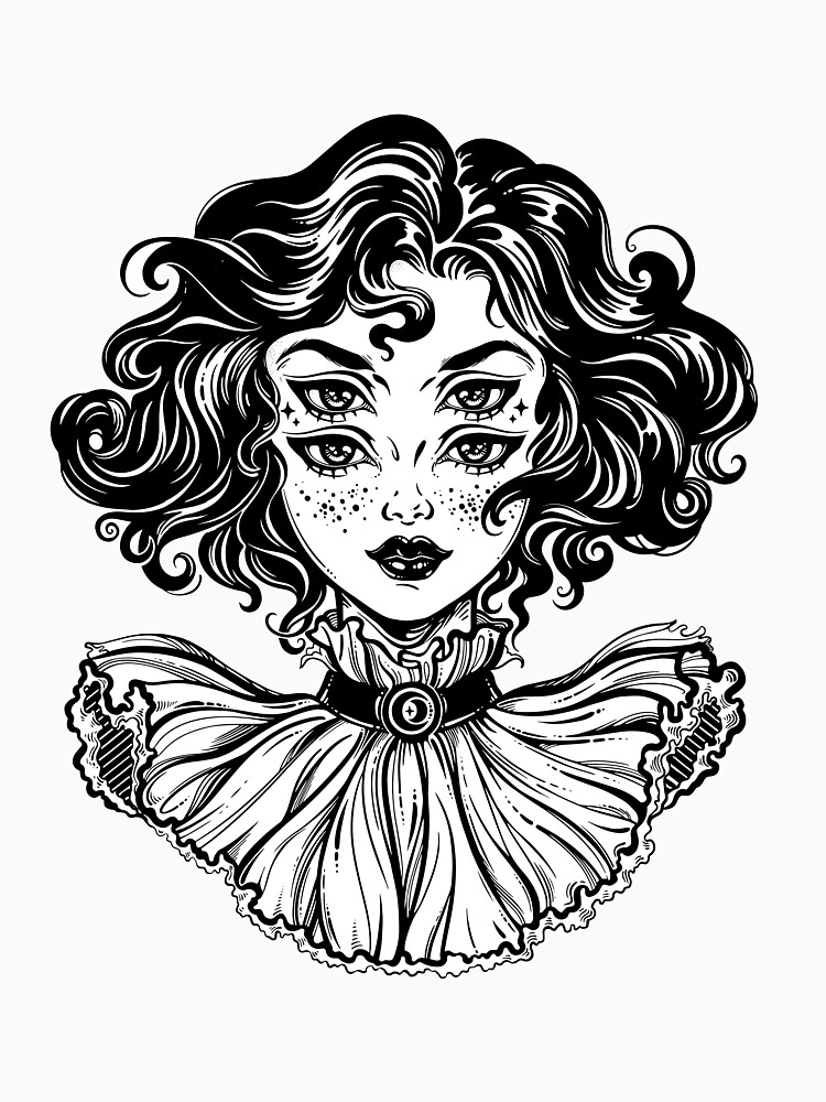 Gothic witch girl head portrait with curly hair and four eyes. by KatjaGerasimova