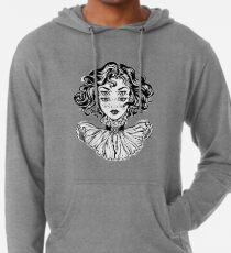 Sudadera con capucha ligera Retrato gótico de la cabeza de la muchacha de la bruja con el pelo rizado y cuatro ojos.