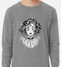 Gothic witch girl head portrait with curly hair and four eyes. Lightweight Sweatshirt