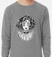 Gotisches Hexemädchen-Kopfporträt mit dem gelockten Haar und vier Augen. Leichtes Sweatshirt